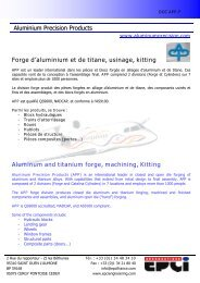 Aluminium Precision Products Forge d'aluminium et de titane ...