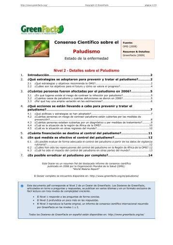 Consenso Científico sobre el Paludismo Estado de la ... - GreenFacts