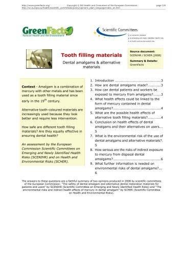 Tooth filling materials Dental amalgams & alternative materials