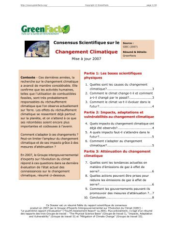 Consensus Scientifique sur le Changement Climatique ... - GreenFacts