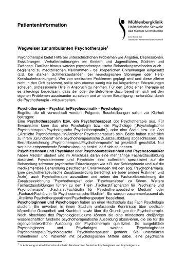 Handout Wegweiser ambulante Psychotherapie