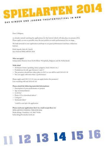 11 12 13 14 15 16 spielARTen 2014 - Spielarten NRW