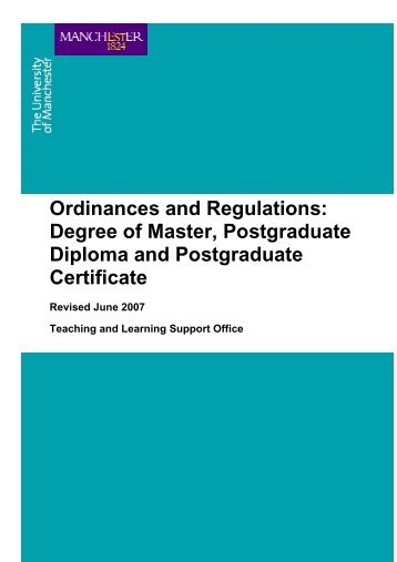 ordinances and regulations for the degrees of master, postgraduate ...