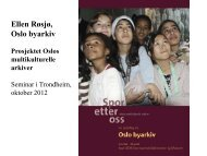 Prosjektet Oslos multikulturelle arkiver - Oslo Museum