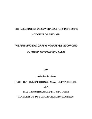 THE AIMS AND END OF PSYCHOANALYSIS ACCORDING TO ...
