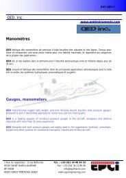 QED, Inc. Manomètres Gauges, manometers - EPCI ENGINEERING