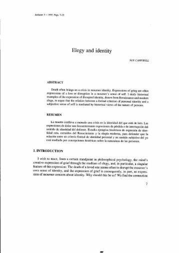 Elegy and identity