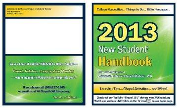 2013 New Student Handbook - Wisconsin Lutheran Chapel