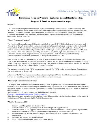 Transitional Housing Program – Wellesley Central ... - Fife House