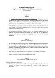 Programa Sectorial Erasmus Regulamento do ISEL para a ...