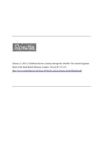 Simons, F. (2011) 'Exhibition Review: Journey through the ... - Rosetta