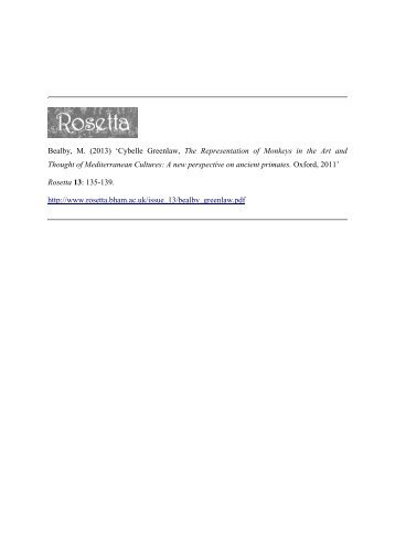 Bealby, M. (2013) 'Cybelle Greenlaw, The Representation ... - Rosetta