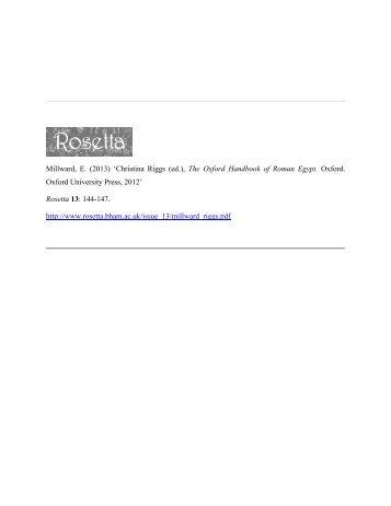 Christina Riggs (ed.), The Oxford Handbook of Roman ... - Rosetta