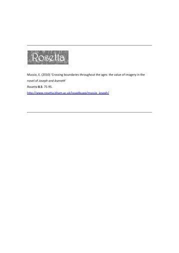 Mussio, E. (2010) 'Crossing boundaries throughout the ... - Rosetta