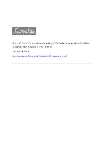 Contextualising Ancient Egypt: The Social Landscape of ... - Rosetta