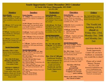 Youth Opportunity Center December 2011 Calendar The YouthLink ...