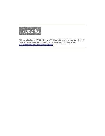 Sfakianou Bealby, M. (2009) 'Review of Phillips 2008 ... - Rosetta