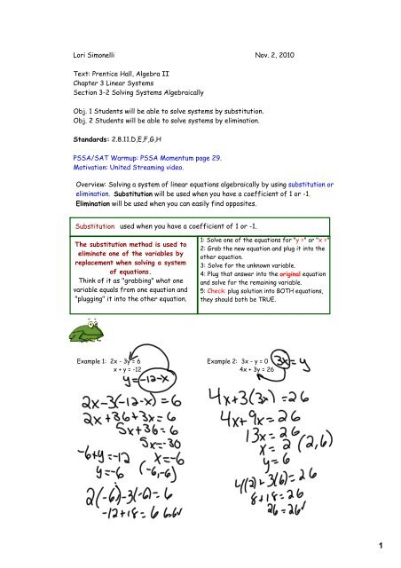 Overview: Solving a system of linear equations algebraically