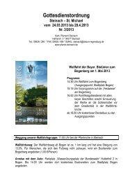 Gottesdienstordnung - Pfarrei Steinach bei Straubing