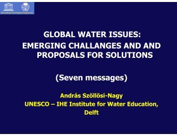 GLOBAL WATER ISSUES: EMERGING CHALLANGES AND ... - Aneas