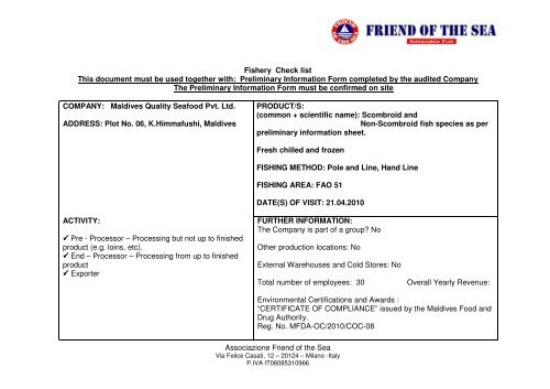 download audit report - Friend of the Sea