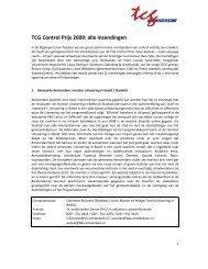 TCG Control Prijs 2009: alle inzendingen - TCG Groep