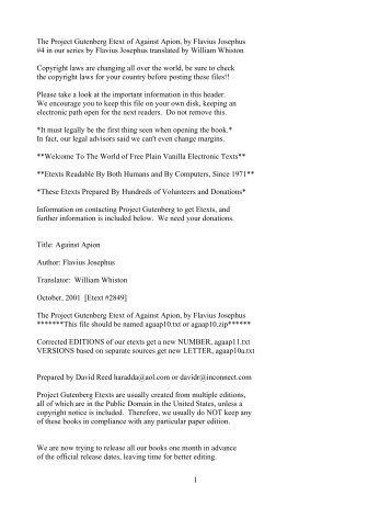 The Project Gutenberg Etext of Against Apion, by Flavius Josephus