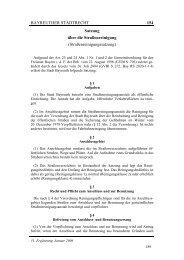 BAYREUTHER STADTRECHT 154 Satzung über die - Stadt Bayreuth
