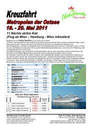 11 Nächte ab/bis Kiel (Flug ab Wien – Hamburg - Wien inkludiert)