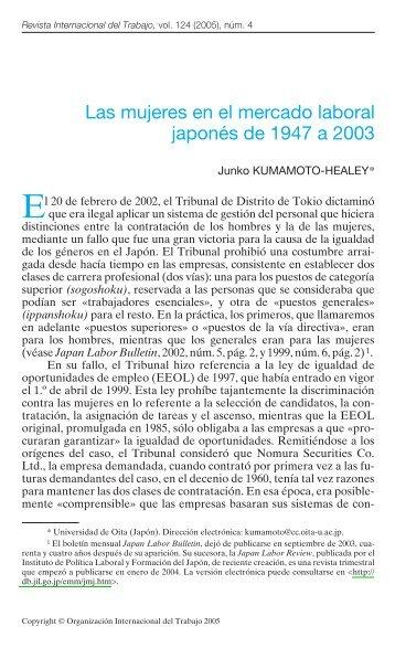Las mujeres en el mercado laboral japonés de ... - Biblioteca Hegoa