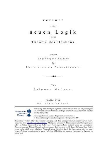 Salomon Maimon - Versuch einer neuen Logik oder Theorie des - tiss