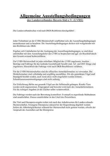 Allgemeine Ausstellungsbedingungen - LVBS 32