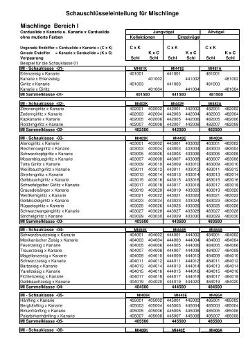 Schauschlüsseleinteilung für Mischlinge Mischlinge ... - LVBS 32