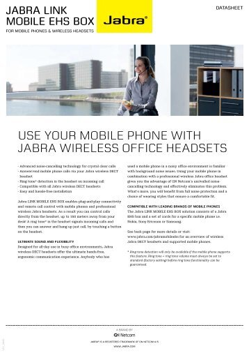 USE YOUR MOBILE PHONE WITH JABRA WIRELESS OFFICE ...