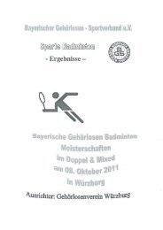 Sportverband ev Sparte  badminton  15. Bay. - Doppel