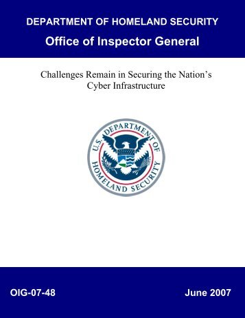 Challenges Remain in Securing the Nation's Cyber Infrastructure ...