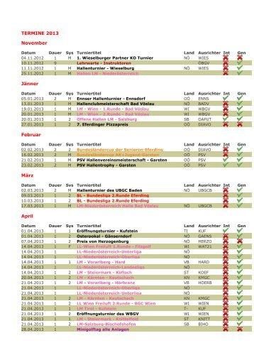 Terminkalender 2013 - BAC Minigolf