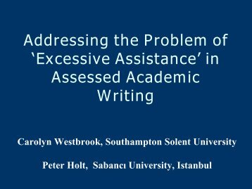 'Excessive Assistance' in Assessed Academic Writing - ealta