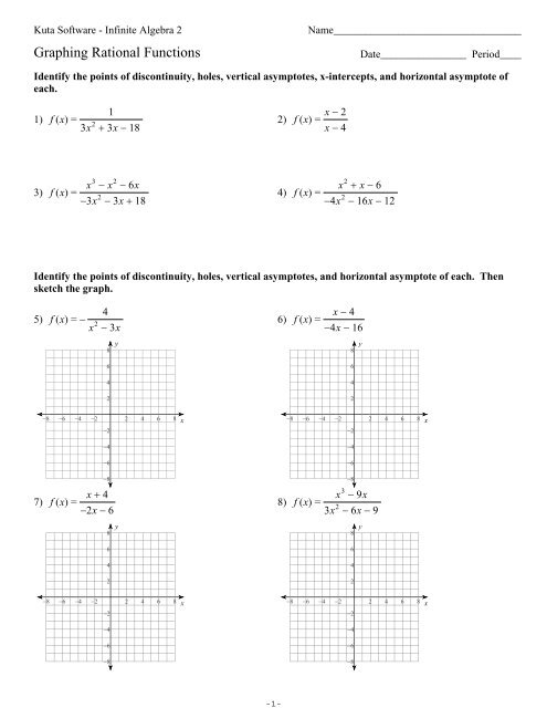 Worksheet On Graphing Rational Functions - Inspiracao Kids