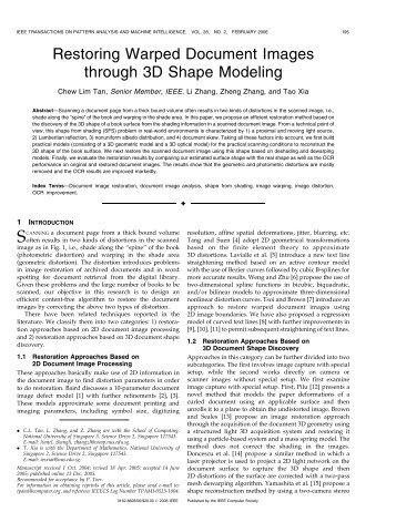 Restoring Warped Document Images through 3D Shape Modeling