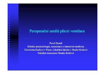 Peroperační Peroperační umělá plicní ventilace umělá plicní ventilace