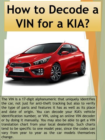 VIN for a KIA?