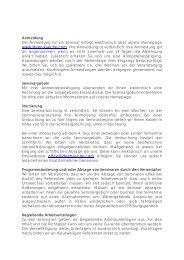 Anmeldung Die Anmeldung für ein Seminar erfolgt elektronisch über ...