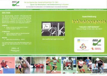 Inklusionspreis 2012 - Badischer Sportbund Nord ev