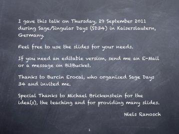 I gave this talk on Thursday, 29 September 2011 during ... - Bitbucket