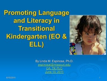 Promoting Language and Literacy in Transitional Kindergarten (EO ...