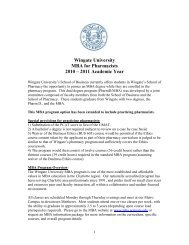 Wingate University MBA for Pharmacists 2010 – 2011 Academic Year