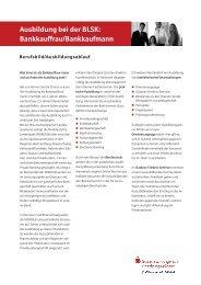 Ausbildung bei der BLSK: Bankkauffrau/Bankkaufmann