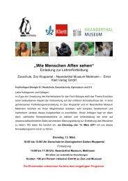 Lehrerfortbildung Neanderthal Museum ... - Zoo Wuppertal