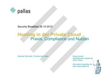 Hosting in der Private Cloud - Pallas GmbH